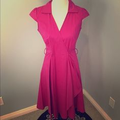 Vintage style Pink cotton wrap dress Cotton fun & flirty retro style wrap dress. Fuchsia pink, collared V-neck , add a petticoat for additional rockabilly style! Removable/adjustable belt (forgot to put it on for pics) belt is same color/fabric as dress and ties. Just below the knee, easy to dress up or dress down, wrap dress with buttons to hold style/fit :) Look for the Stars Dresses Asymmetrical