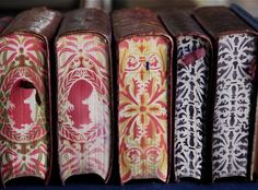 striking art work on edge pages of books.