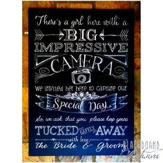 No cameras or phones please! Unplugged wedding sign, unplugged wedding blackboard, unplugged wedding chalkboard, wedding photographer © Design by Blackboard Artworx