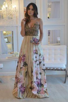 vestido de festa estampado madrinha
