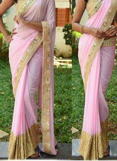 New #Pink & #Gold Georgette #Designer #Party_Wear #Saree