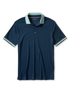 Luxe-Touch Stripe Trim Cotton Polo In Navy Star