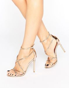 Office Spindle Rose Gold Mirror Strappy Heeled Sandals