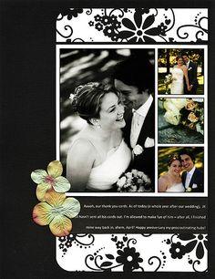 Wedding scrapbook layout -July – 2007 – Trail Snail - Page 2 Scrapbook Sketches, Scrapbook Page Layouts, Scrapbook Albums, Scrapbook Journal, Scrapbook Supplies, Scrapbook Cards, Scrapbooking Ideas, Heritage Scrapbooking, Wedding Album