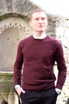 Marsala spring outfit for him.  Marsala sweater: Asos Black chinos: Scotch & Soda  White shirt: Hugo Boss