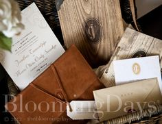vintage wooden invitation with leather envelope