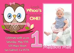 Look Whoo's turning One Custom Photo Birthday Invitations #1