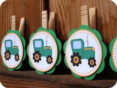 Tractor Photo Clips / Party Favor Bag Toppers by LittleMonsterHugs, $10.00