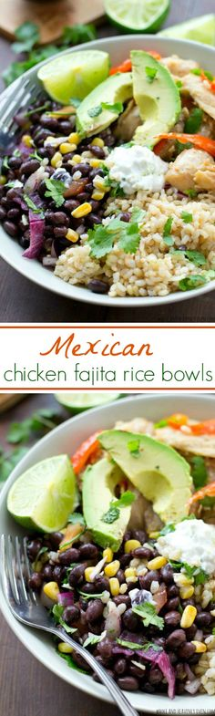 Mexican Chicken Fajita Rice Bowls Skip the Mexican take-out and whip up these fun rice bowls that combine all the Mexican-food things you love with chicken fajitas! Mexican Dishes, Mexican Food Recipes, Dinner Recipes, Carnitas, Enchiladas, Couscous, All You Need Is, Guacamole, Cooking Recipes
