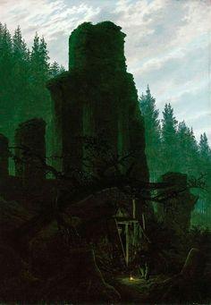 Caspar David Friedrich  Ruins at dusk (Church ruin in the forest), 1831