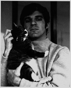 Steve Martin and cat - Steve Martin, Pretty Cats, Beautiful Cats, Crazy Cat Lady, Crazy Cats, Celebrities With Cats, Three Cats, Cool Books, Sleepy Cat