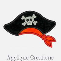 Pirate Hat...Embroidery Applique Design...Three by ACEmbroidery, $3.50