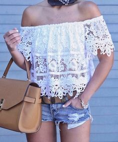 #spring #outfits  White Lace Off The Shoulder Top + Ripped Denim Short