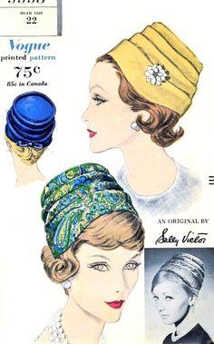 1960スタイリッシュなサリービクタープリーツハットパターンのヴォーグ9993クラッシー60代前半シックな帽子ヴィンテージ縫製パターン