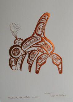 Bill Reid Haida Killer Whale-Skaana-Gold Embossed