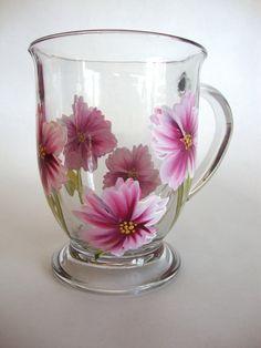 Hand-painted pink wild flower mug #2
