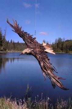 Wooden Eagle in Flight Sculpture