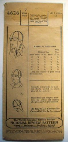 1920's 1930's Aviation Cap Boys Age 2 Pattern Pictorial Review 4646