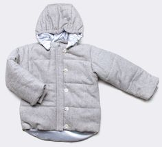 quilted tweed snow jacket, silver