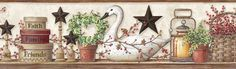 """Pure Country Rue Swan Star Collage 15' x 8"""" Floral 3D Embossed Border Wallpaper"""