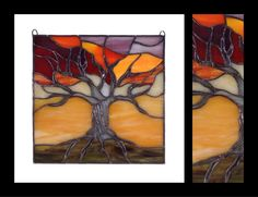Tree of Life at Sunset - Glass Panel by smashglassworks on Etsy