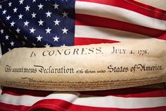 Independence Day - American Declaration of independence 4th july 1776 on usa flag background