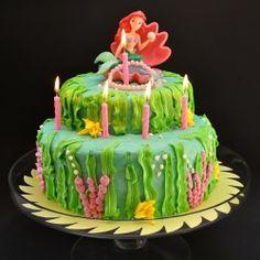 Little Mermaid Birthday Cake.  Ariel sits upon an undersea throne of yellow cake and vanilla buttercream.