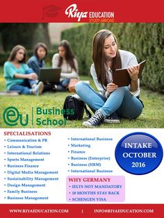STUDY BACHELORS AT EUROPEAN UNIVERSITY,GERMANY !!! Get in touch with Riya Education for more details.