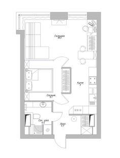 Проект маленькой квартиры в 44.5 кв. м. для молодой пары - Дизайн интерьеров | Идеи вашего дома | Lodgers