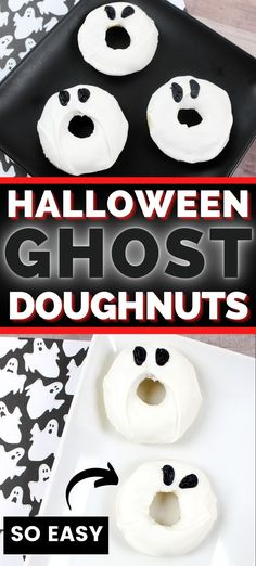 Screaming ghost doughnuts are easy to make and perfect for Halloween! #HalloweenFood #HalloweenRecipes #HalloweenIdeas