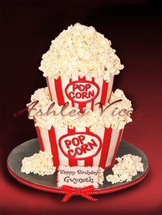 He popped the question engagement party cake- or sweet popcorn balls