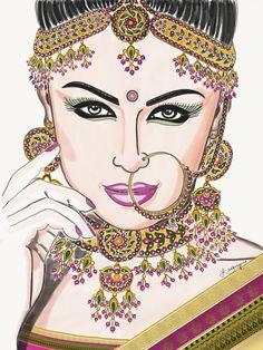 Fashion illustration _ Indian Bride -2