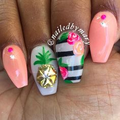 I need a vacation   .  .  .  #pineapple #tropicalnails #sunsetparadise #art #nails #notd #tbt #love #coffinnails