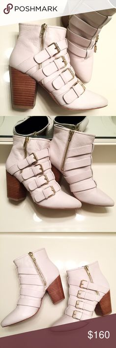 NEW white genuine leather heeled buckle boots Brand new, never worn and still with tags. These boots sell for $220. Extremely high quality, soft white genuine leather with gold buckles and side zippers. Women's size 8. Brand: Rebecca Minkoff Rebecca Minkoff Shoes Heeled Boots