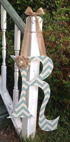 Large fabric covered letter- light blue and cream chevron by Lyndsey Clairday