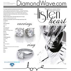 DiamondWave.com by isatusia on Polyvore featuring moda Heart Earrings, Wedding Rings, Engagement Rings, Polyvore, Jewelry, Enagement Rings, Heart Pendants, Jewlery, Jewerly