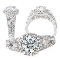 18kElite Collection 3-stone split shank diamond engagement ring semi-mount