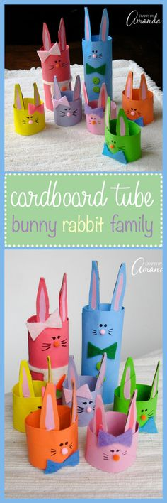 This cardboard tube bunny rabbit family is the perfect Easter craft to make with your kids. Choose bright and cheery colors to represent Spring!