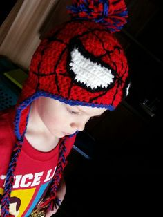 Spiderman hat  I got the pattern from here: http://mrsmelodyadams.blogspot.com/2012/08/the-making-of-spiderman-crochet-hat.html