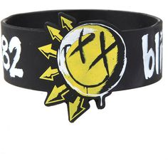 Blink-182 Smiley Logo Die-Cut Rubber Bracelet Hot Topic ($15) ❤ liked on Polyvore featuring jewelry, bracelets, rubber jewelry, rubber bangles and logo jewelry