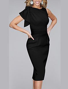 312639aab71119   18.99  Women s Ruffle Work Casual Bodycon Dress - Solid Colored Ruffle  Summer Black Red Blue L XL XXL