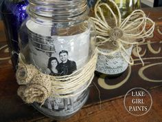 Mason Jars and Wine Bottles - Burlap and Glitter