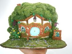 hobbit house diorama hobbiton ooak fairy por MundoMagico en Etsy