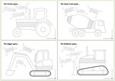 Free printable colouring-in pages of construction vehicles