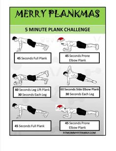 Christmas 5 Minute Plank Challenge Try this fun Christmas theme plank routine, no equipment needed! It only takes 5 minutes. Tone and Strengthen your Upper Body & Lower Body