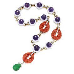 18 karat gold, platinum, emerald, diamond, coral, amethyst and enamel pendant-necklace, David Webb