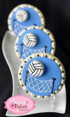 Volleyball cookies by Becky Bakes Galletas Cookies, Iced Cookies, Cut Out Cookies, Cute Cookies, Cupcake Cookies, Sugar Cookies, Baking Cookies, Cookie Frosting, Royal Icing Cookies