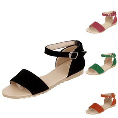 Ankle strap Flats Sandals Casual beach Flip Flops Shoes Womens ladies Size 915a35a673c