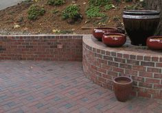brick patio and retaining wall