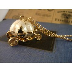 Cream and Gold Pumpkin Carriage Cinderella Locket OPENS Disney WITH... ($7.99) ❤ liked on Polyvore